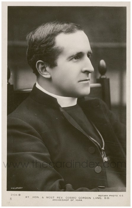 Postcard front: Rt. Hon. & Most Rev. Cosmo Gordon Lang. D.D. Archbishop of York