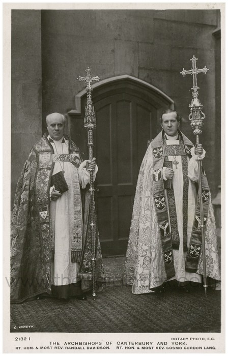 Postcard front: The Archbishops of Canterbury and York. Rt. Hon. & Most Rev. Randall Davidson. Rt. Hon. & Most Rev. Cosmo Gordon Lang