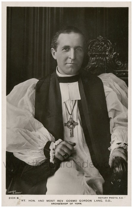 Postcard front: Rt. Hon. and Most Rev. Cosmo Gordon Lang. D.D. Archbishop of York