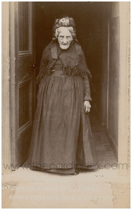 Postcard front: Mrs Johnson Bumper Castel Inn Born 27 Oct 1804 Died 21 July 1907