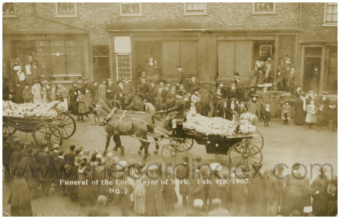 Postcard front: Funeral of the Lord Mayor of York. Feb 4th. 1907