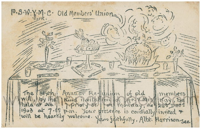 Postcard front: P.S.W.Y.M.C. Old Members' Unioin. York