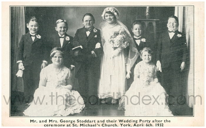 Postcard front: Mr and Mrs. George Stoddart and their Wedding Party after the Ceremony at St. Michael's Church, York, April 6th, 1932