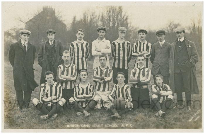 Postcard front: Burton Lane Adult School A.F.C.
