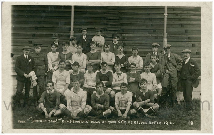 Postcard front: York and Sheffield Deaf and Dumb Football Teams on York City F.C. Ground Easter 1916