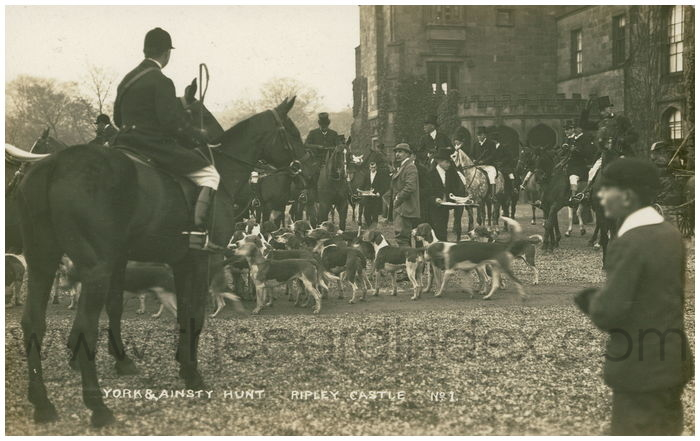 Postcard front: York & Ainsty Hunt Ripley Castle