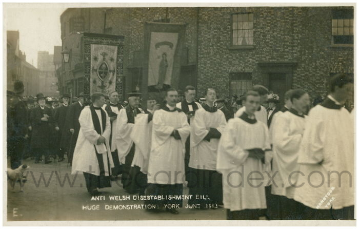 Postcard front: Anti Welsh Disestablishment Bill Hugh Demonstration York June 1913