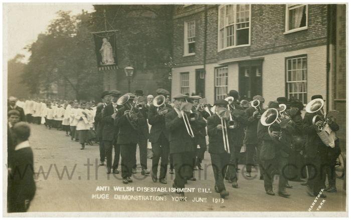Postcard front: Anti Welsh Disestablishment Bill Huge Demonstrations YOrk June 1913