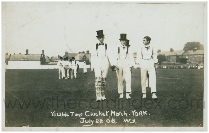 Postcard front: Ye Olde Time Cricket Match. York. July 22.08.