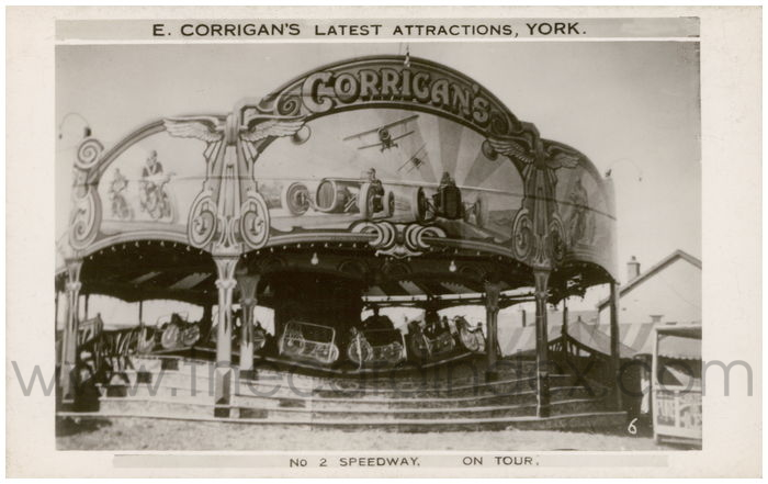 Postcard front: E.Corrigan's Latest Attractions, York No2 Speedway on Tour