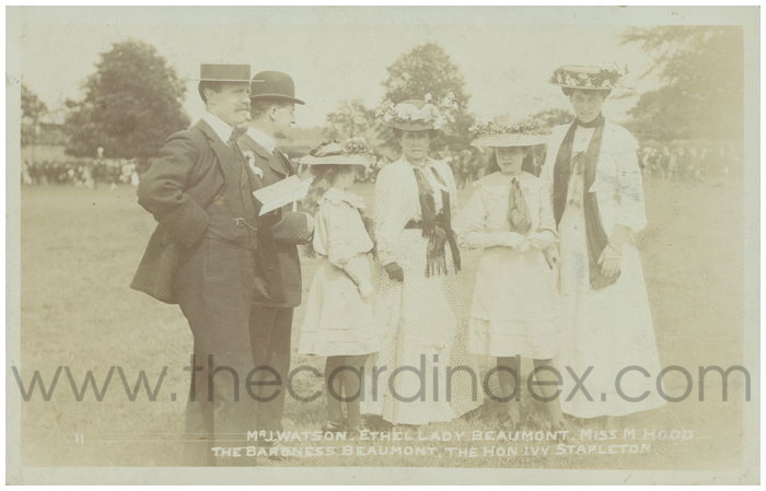 Postcard front: Mr J. Watson. Ethel Lady Beaumont. Miss M Hood the Baroness Beaumont. The Hon Ivy Stapleton