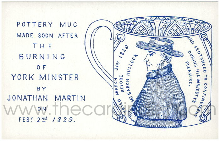 Postcard front: Pottery mug made soon after the burning of York Minster by Jonathan Martin on Feby. 2nd 1829
