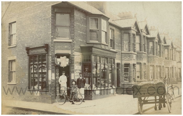 Postcard front: X L Supply Stores Provisional Importers & General Merchants 23 & 25 Bishopgate St. York