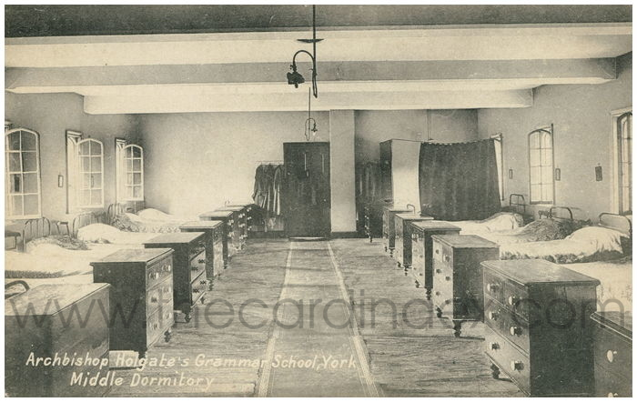 Postcard front: Archbishop Holgate's Grammer School, York Middle Dormitory