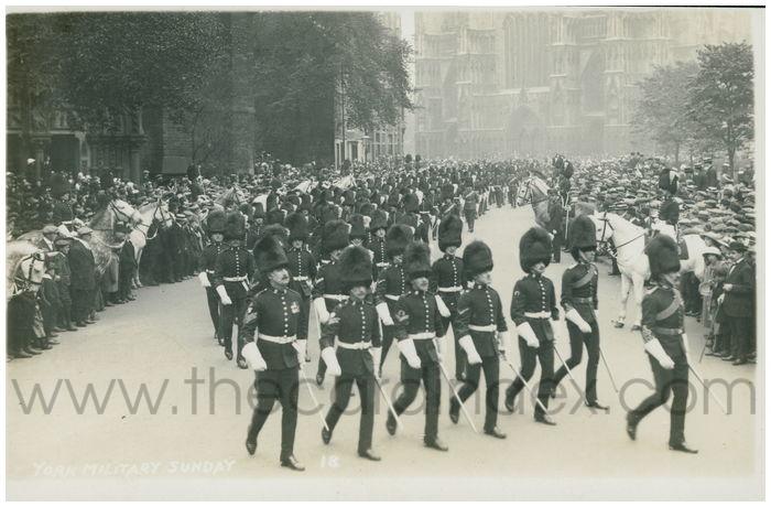Postcard front: York Military Sunday