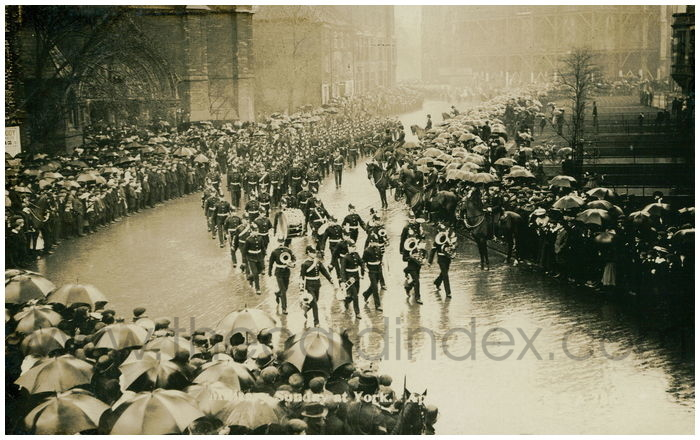 Postcard front: Military Sunday at York.. April 30th 1905