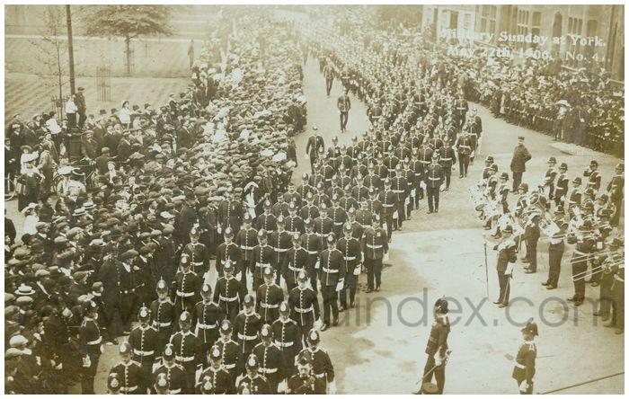 Postcard front: Military Sunday at York. May 27th 1906