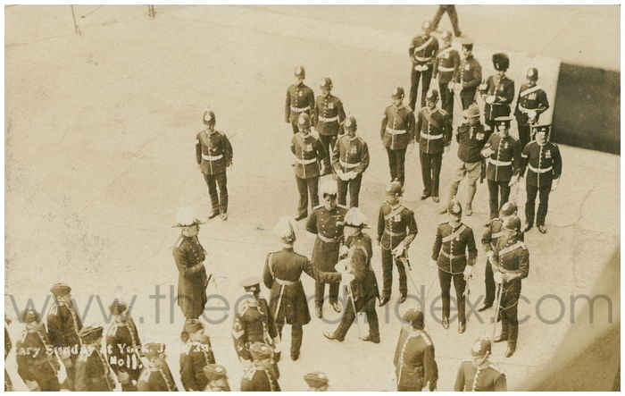 Postcard front: Military Sunday at York. June 2nd. 1907