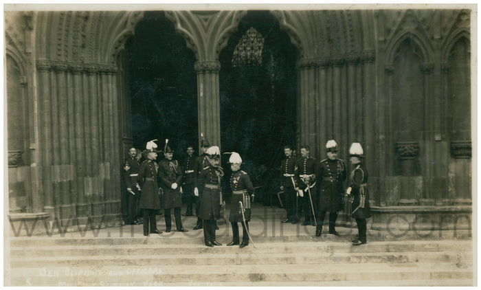 Postcard front: Gen Olipham and Officers Military Sunday York