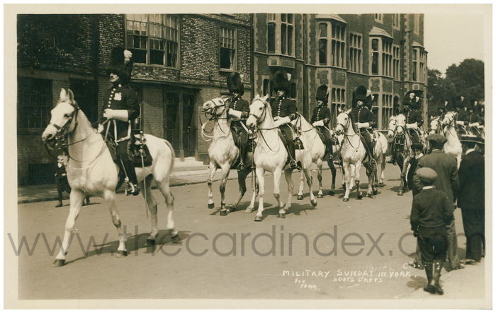 Postcard front: Military Sunday in York. Scots Greys