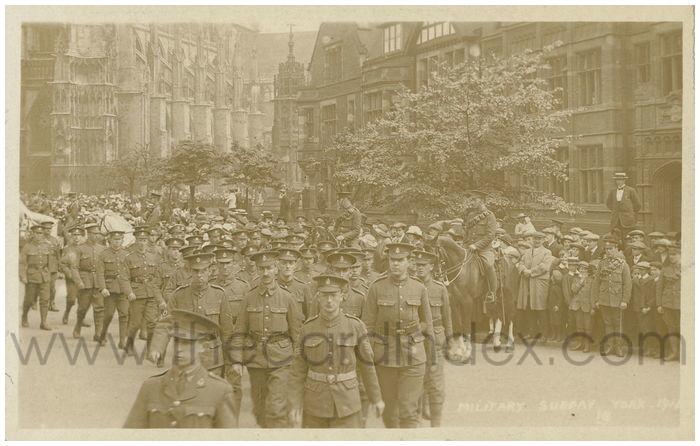 Postcard front: Military Sunday York 1911