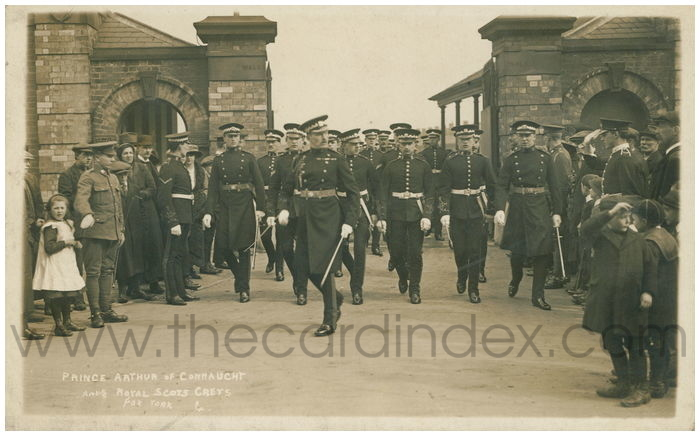 Postcard front: Prince Arthur of Connaught and Royal Scots Greys