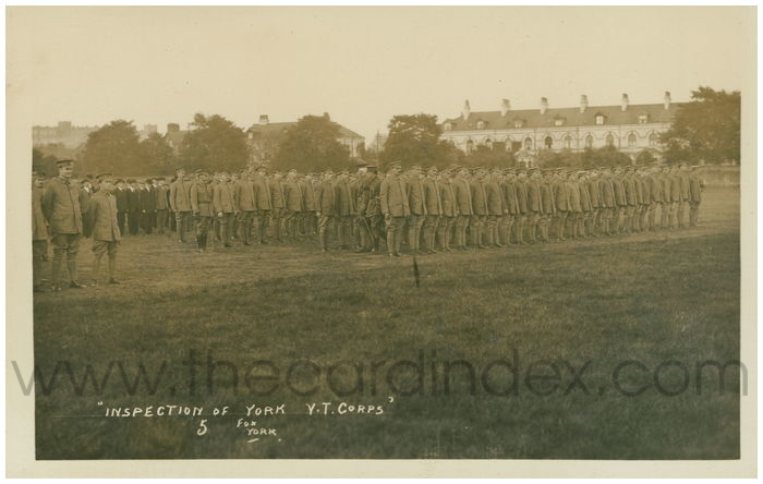 Postcard front: Inspection of York V.T. Corps