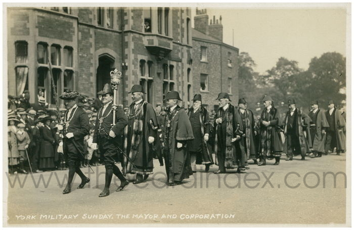 Postcard front: York Military Sunday. The Mayor and Corporation