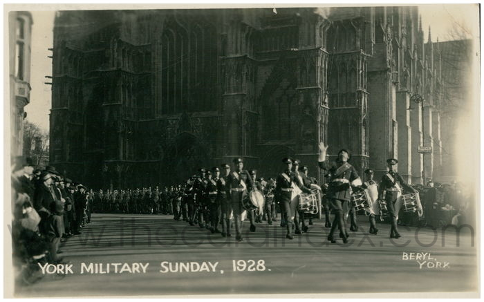 Postcard front: York Military Sunday. 1928