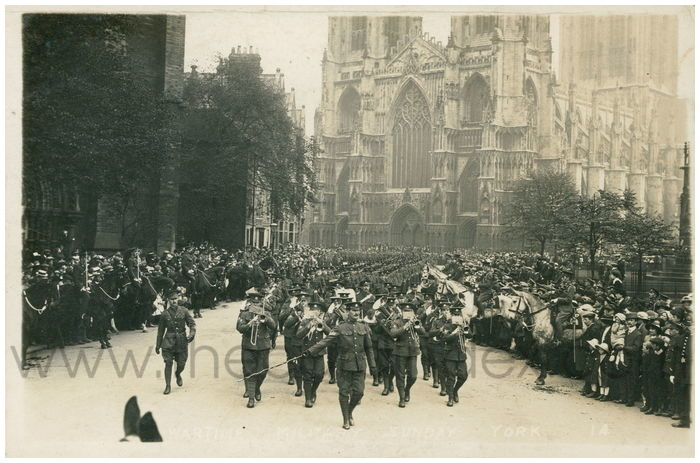 Postcard front: Wartime Military Sunday York
