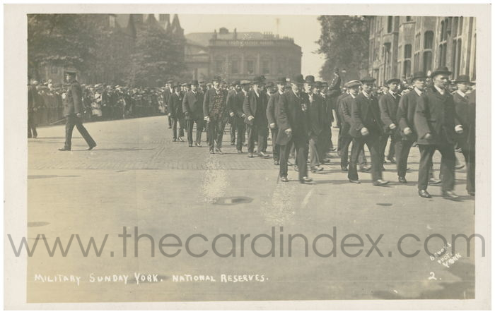 Postcard front: Military Sunday York. National Reserves.