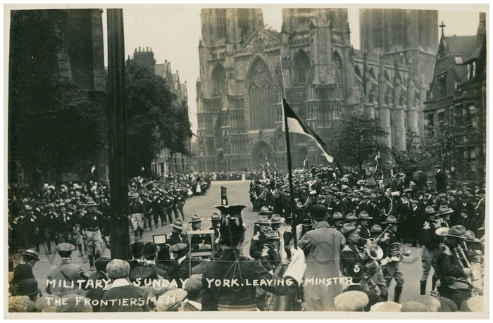 Postcard front: Military Sunday York. Leaving Minster The Frontiersmen