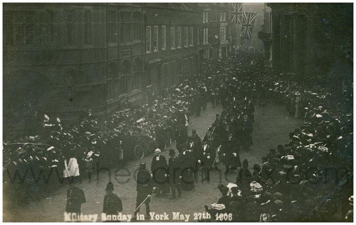 Postcard front: Military Sunday in York May 27th 1906