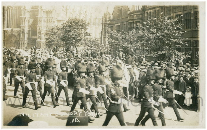 Postcard front: Military Sunday. York