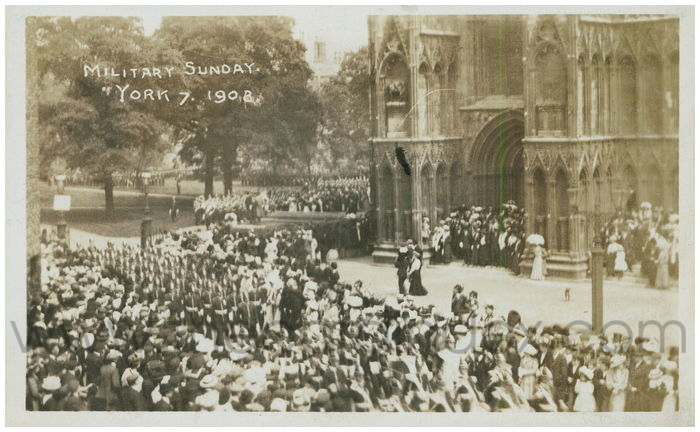 Postcard front: Military Sunday. York 1908