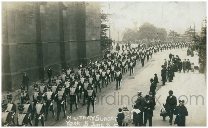 Postcard front: Military Sunday York 5 June 5 10
