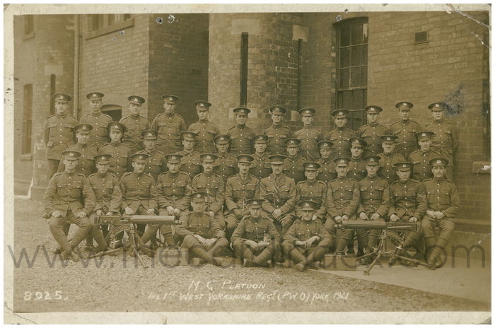 Postcard front: M.G. Platoon The First West Yorkshire Regt. (P.W.O.) York 1921