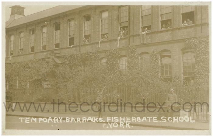 Postcard front: Tempoary Barracks. Fishergate School. York