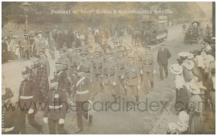 Postcard front: Funeral of Sergt. Hailes & Schoolmaster Laville