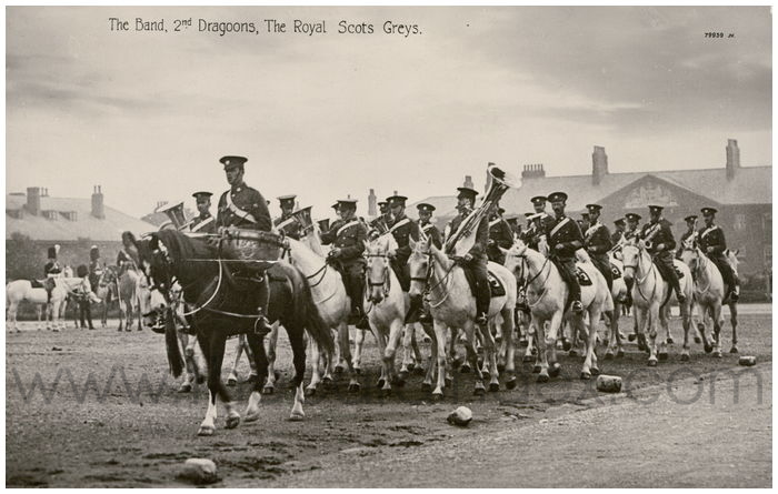 Postcard front: The Band 2nd Dragoons, The Royal Scots Greys