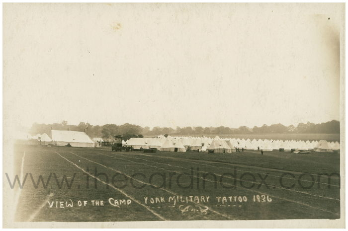 Postcard front: View of the Camp York Military Tattoo 1926