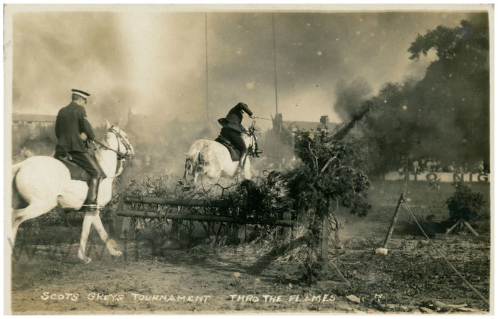 Postcard front: Scots Greys Tournament Thro the Flames