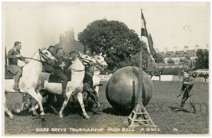Postcard front: Scots Greys Tournament Push Ball A Goal