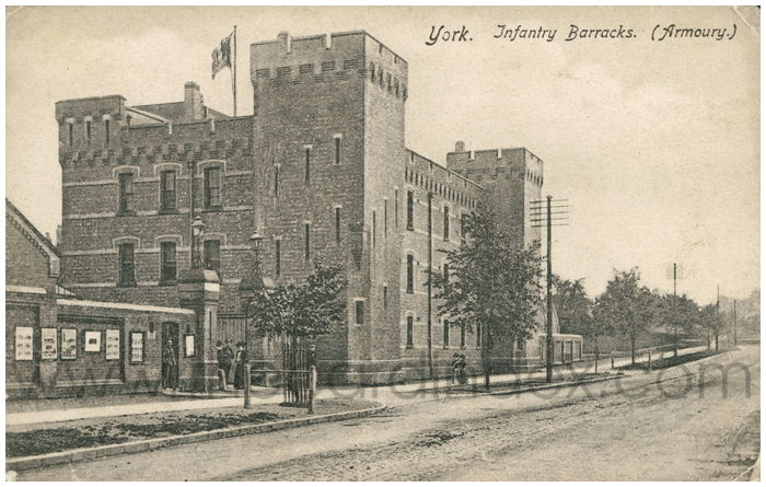 Postcard front: York. Infantry Barracks. (Armoury.)