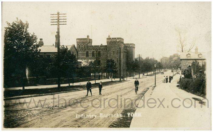 Postcard front: Infantry Barracks. York