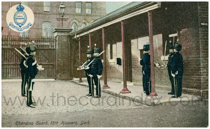 Postcard front: Changing Guard, 18th Hussars, York