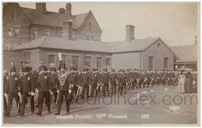 Postcard front: Church Parade. 18th Hussars