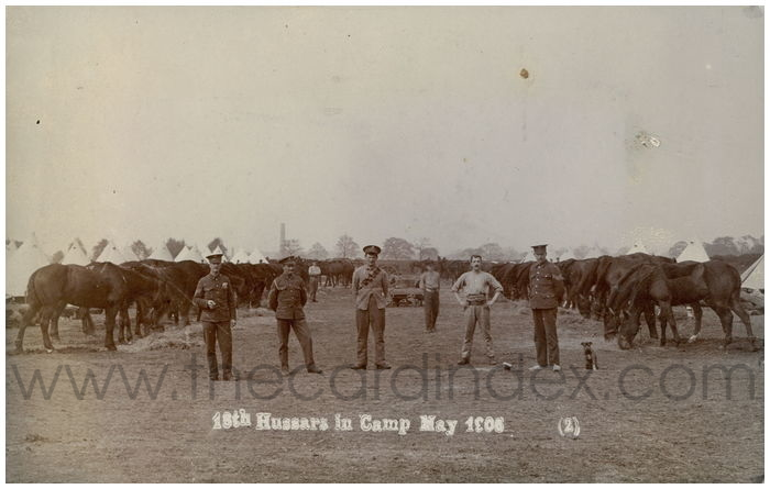 Postcard front: 18th Hussars in Camp May 1906