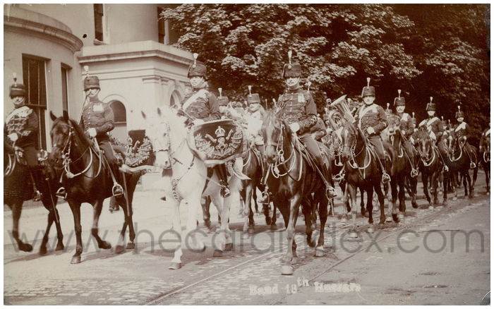 Postcard front: Band 18th Hussars