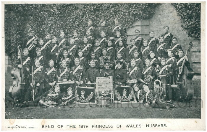 Postcard front: Band of the 18th Princess of Wales' Hussars